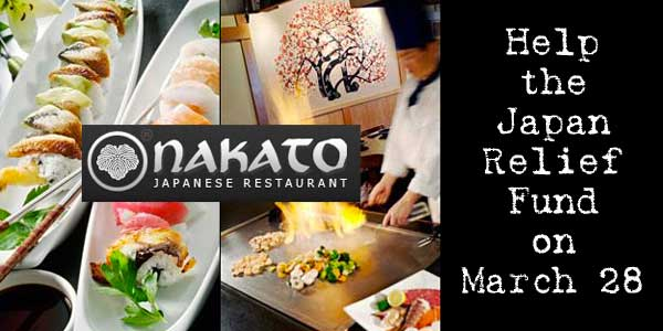 Eat at Nakato Japanese Steakhouse on March 28 and Help Japan!