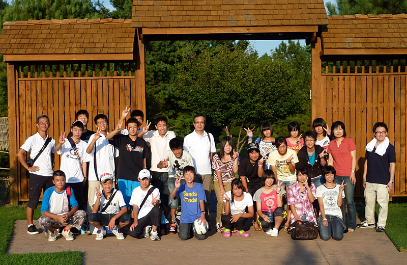 Isesaki Students Welcomed at BBQ in Japanese Stroll Garden